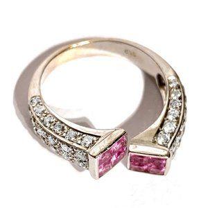 18k White Gold PavÉ Diamond Pink Sapphire 6.5 ring